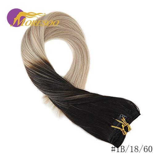 Moresoo накладные волосы Remy на заколках для наращивания, натуральные волосы с эффектом омбре, 7 шт., 100 г, набор на всю голову - Цвет: 1B-18-60