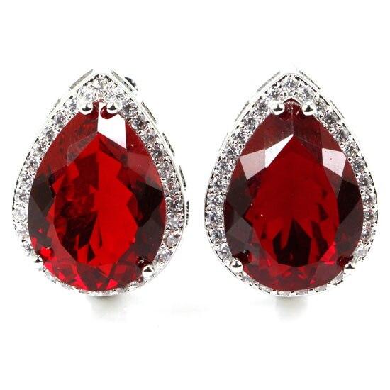 Fancy 18x13mm Created Red Blood Rubies CZ Woman 39 s Wedding Silver Earrings 22x16mm in Earrings from Jewelry amp Accessories