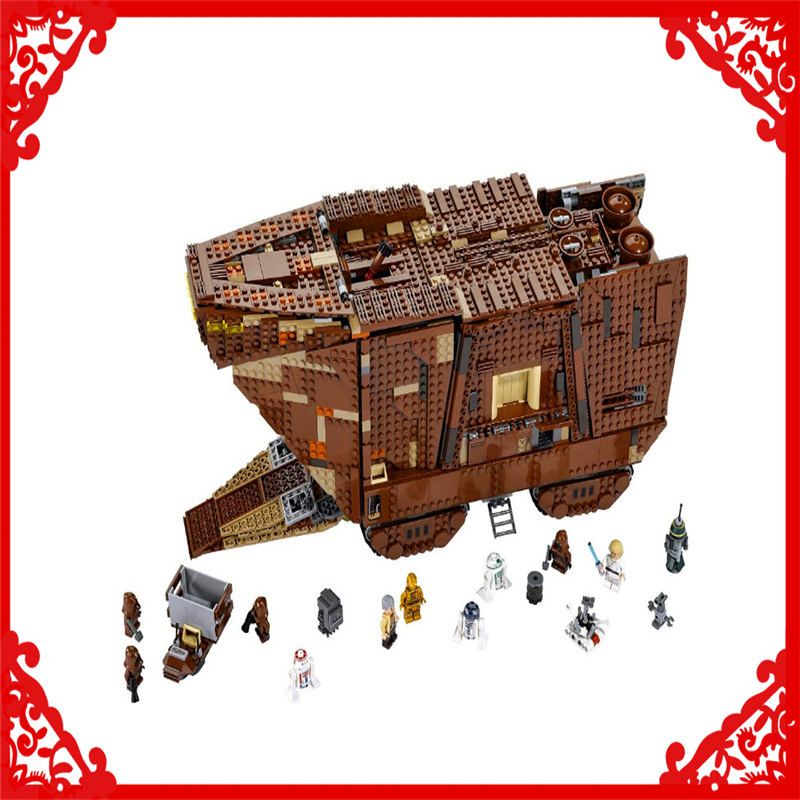 LEPIN 05038 Star Wars Sandcrawler Building Block Compatible Legoe 3346Pcs    Toys For Children lepin 22001 pirate ship imperial warships model building block briks toys gift 1717pcs compatible legoed 10210