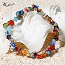 RINHOO очаровательные браслеты и браслеты с натуральными камнями растягивающийся браслет Femme для женщин ювелирные изделия персонализированный красочный браслет