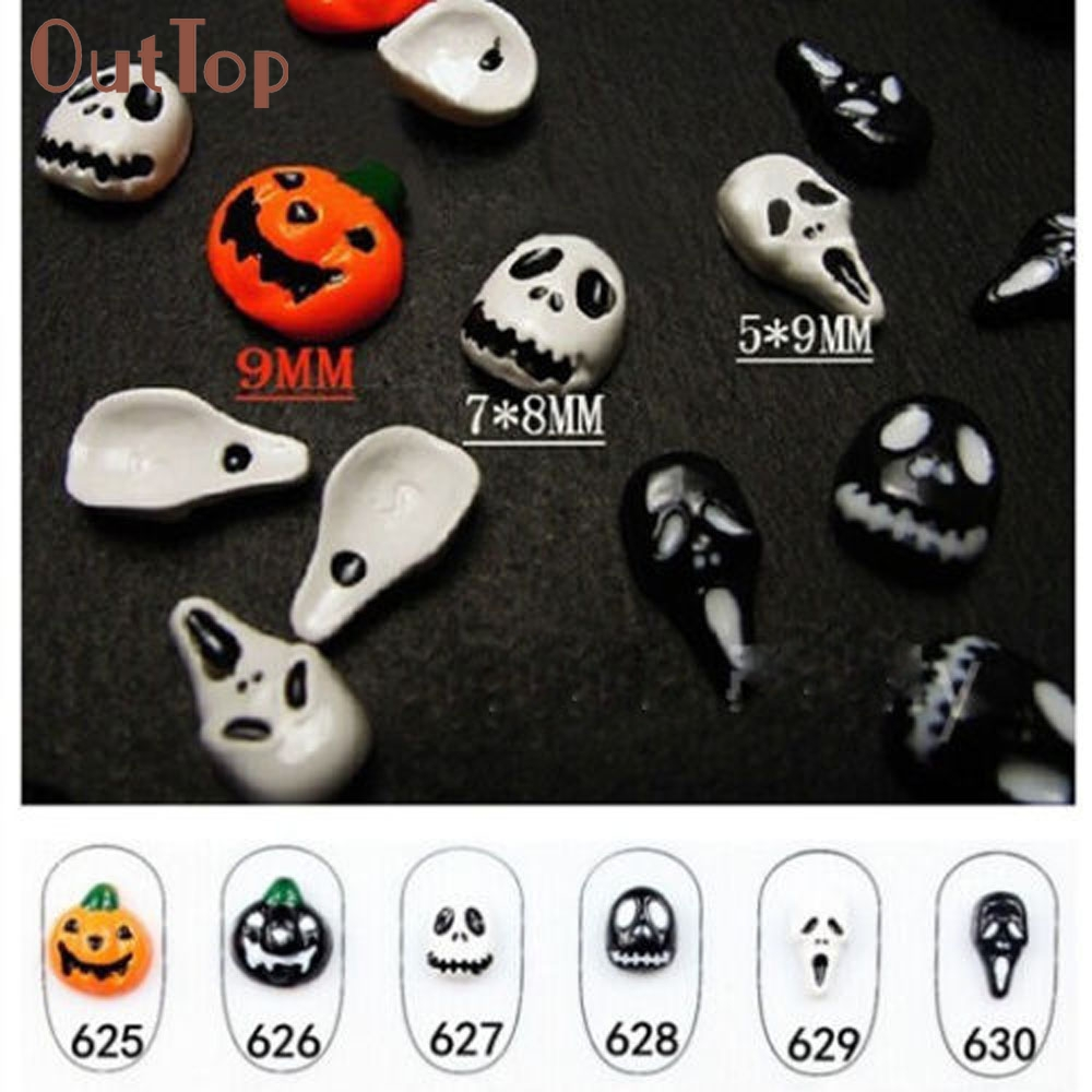6pc Halloween Skull Bone Nail Art Sticker