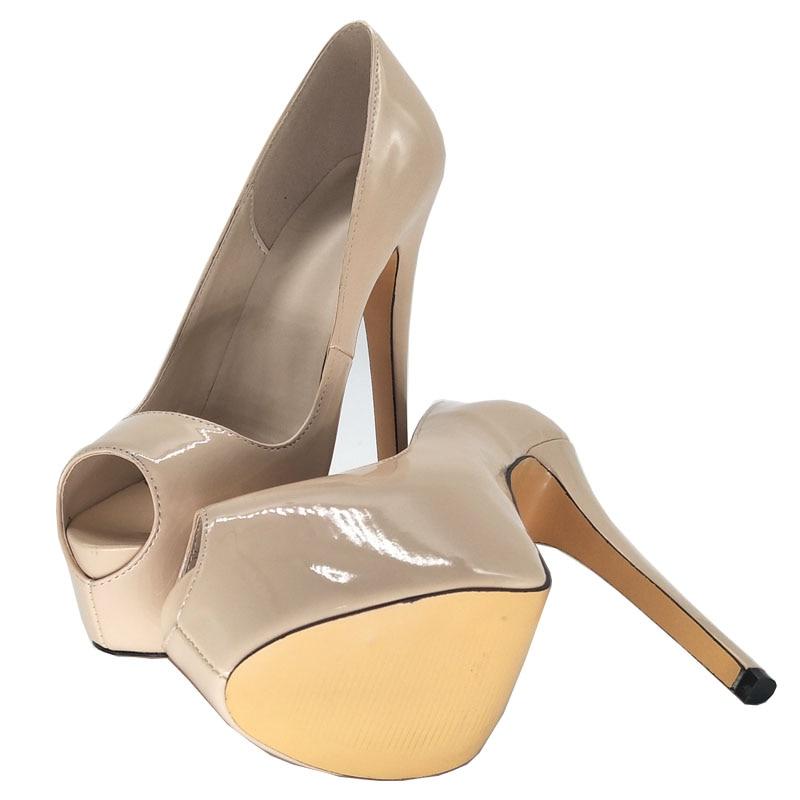 Plattform Dünne 5 Schuhe Fashion Uns Absicht Plus Neue Ursprüngliche 10 Größe Toe Ef0987 Pumps Elegante 4 Heels Pumpt Frau Frauen High Nude Peep SwXn8fq