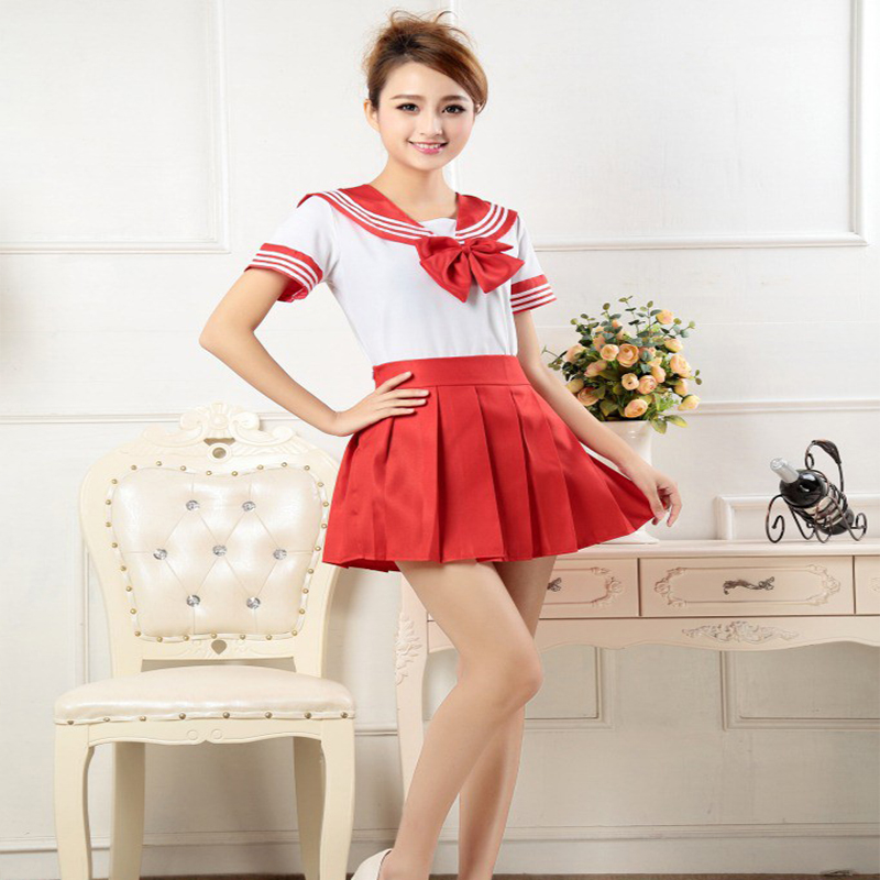 7 Colors Japanese School Uniforms Sailor tops+bow+skirt Navy Style Students Clothes For Girl Lala Cheerleader Clothing Plus size