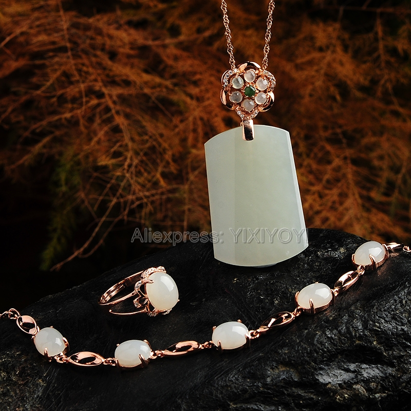 Gorgeous 925 Silver Natural White HeTian Jade Square Buckle Dangle Lucky Pendant Neckl;ace Bracelet Ring Fine Jewelry Set Gift 925 silver natural white white hetian jade beads inlay flower dangle lucky pendant necklace ring elegant woman s jewelry set