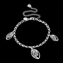 Anklets 925 Sterling Silver fashion three charms pendant For Women Jewelry Gift bag free a158