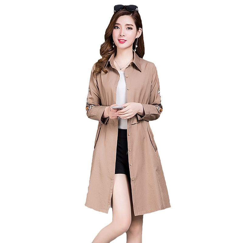 2019 Spring Autumn New Casual Slim   Trench   Coat Female Embroidery Outerwear Women Classic Slim Thin Windbreaker Plus Size 5XL D47