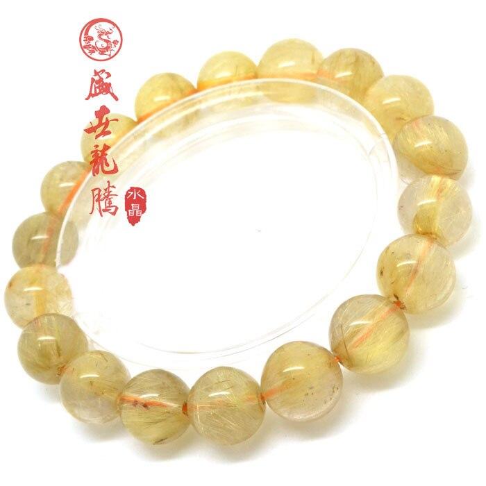 Кристалл lansdowne тысячелетие природный кристалл золотой rutilated кварц браслет Мужчины Женщины