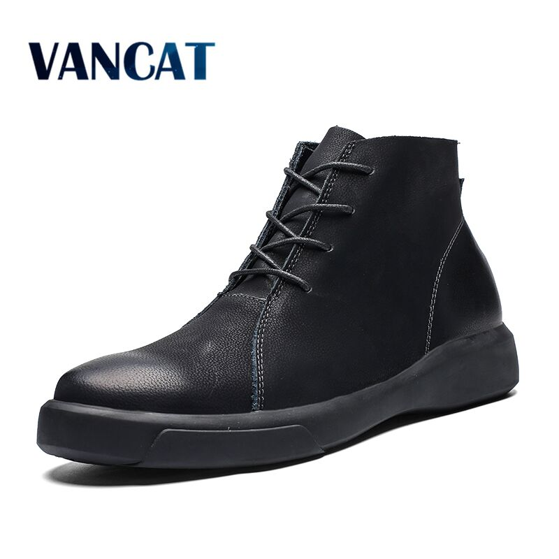 Vancat New Warmth Men Boots Autumn Winter Fur Ankle Boots 2018 Fashion High  Quality Snow Boots 68e61ca4674b
