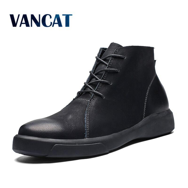 Vancat Nouveau Chaleur Hommes Bottes Automne Hiver De Fourrure Cheville Bottes 2018 Mode Haute Qualité Neige Bottes Vintage Hommes Chaussures Taille 38-47