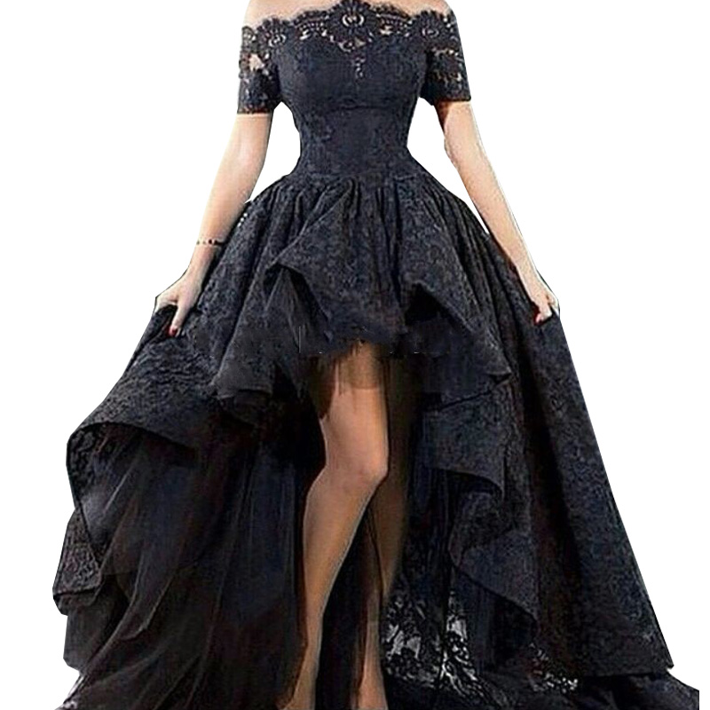Charming Black Lace Evening Gown Hi Low Off the Shoulder Party Short Front Long Back Prom