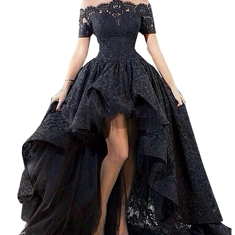 Charming Black Lace   Evening   Gown Hi Low Off the Shoulder Party Short Front Long Back Prom   Evening     Dress   Vestido longo 2019
