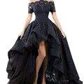 Lorie encantador de renda preta à noite vestido hi low off the shoulder partido Da Frente Curto Longo Voltar Prom Vestido de Noite Vestido longo 2017