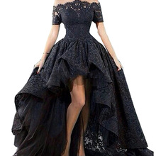 Abito da sera in pizzo nero affascinante Hi Low Off the Shoulder Party Short Front Long Back Prom abito da sera Vestido longo 2019
