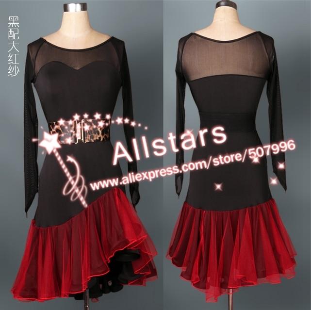 Professional Women Latin Dance Dress Ladies Ballroom Salsa Dresses Elegant Singer Stage Costumes J-0805 - Allstars store