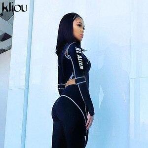 Image 3 - Kliou, conjunto deportivo de dos piezas para mujeres, leggins con cuello de tortuga con estampado de letras, top, leggings a rayas de almazuela, chándales de moda 2019 2 uds