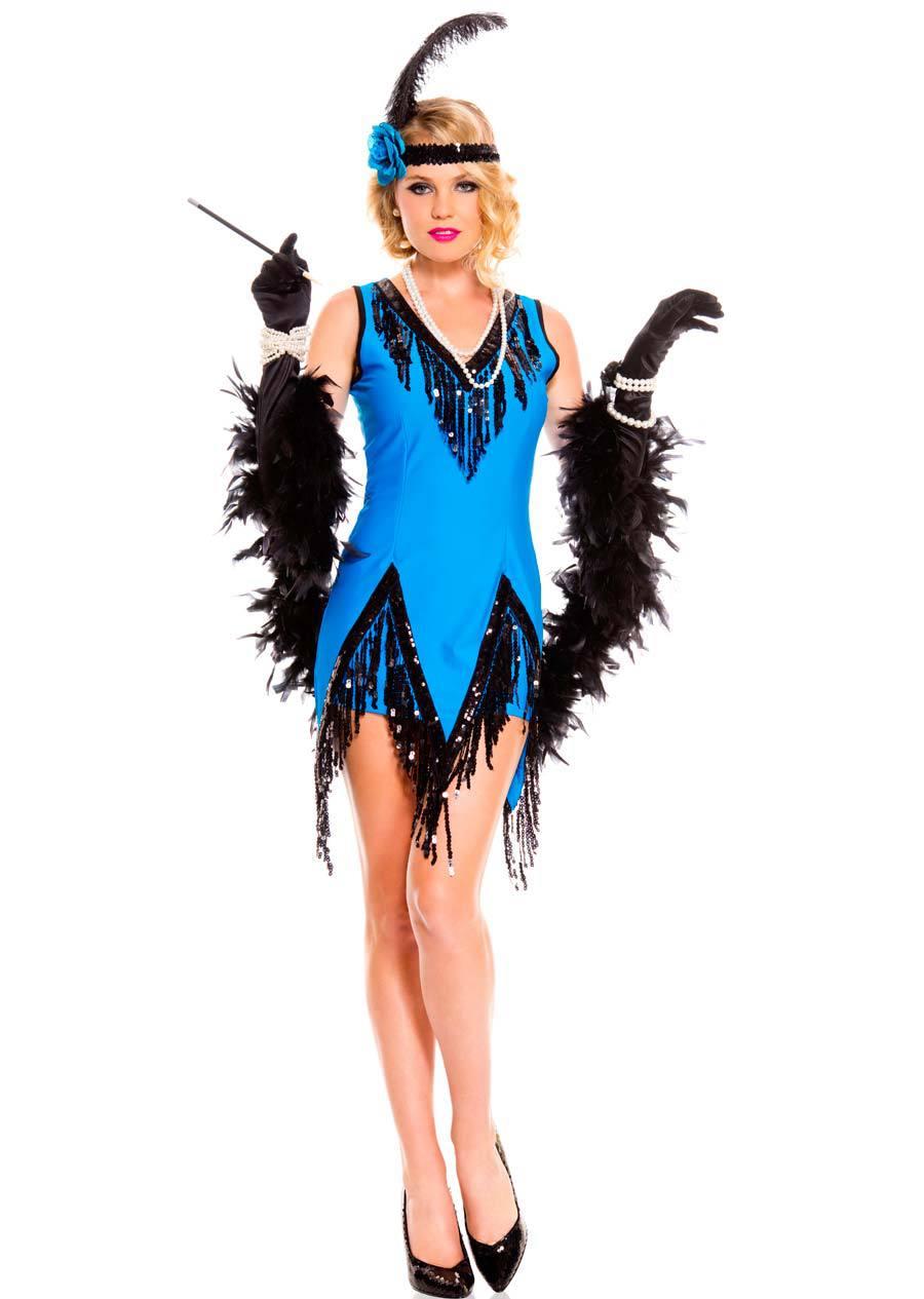 Flapper Costume sequin flapper dress black and blue flapper ...