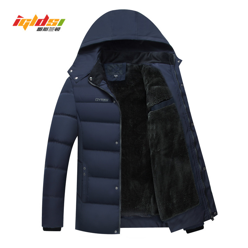 Fleece Thick Winter Down Jacket Coat Men New 2018 Brand Padded Men's Casual Down   Parkas   Long Loose Fit Hooded Jacket For Men 4XL