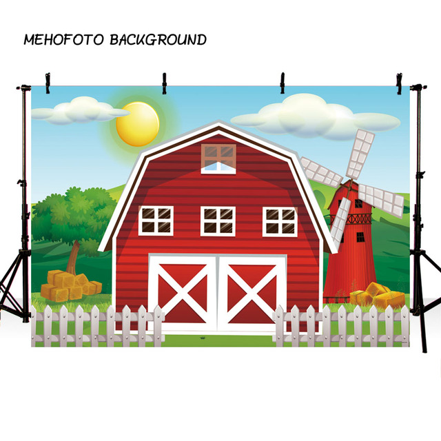 7X5FT Farm theme photography backdrops Red Barn Barnyard house kids birthday illustration background photo studio photobooth