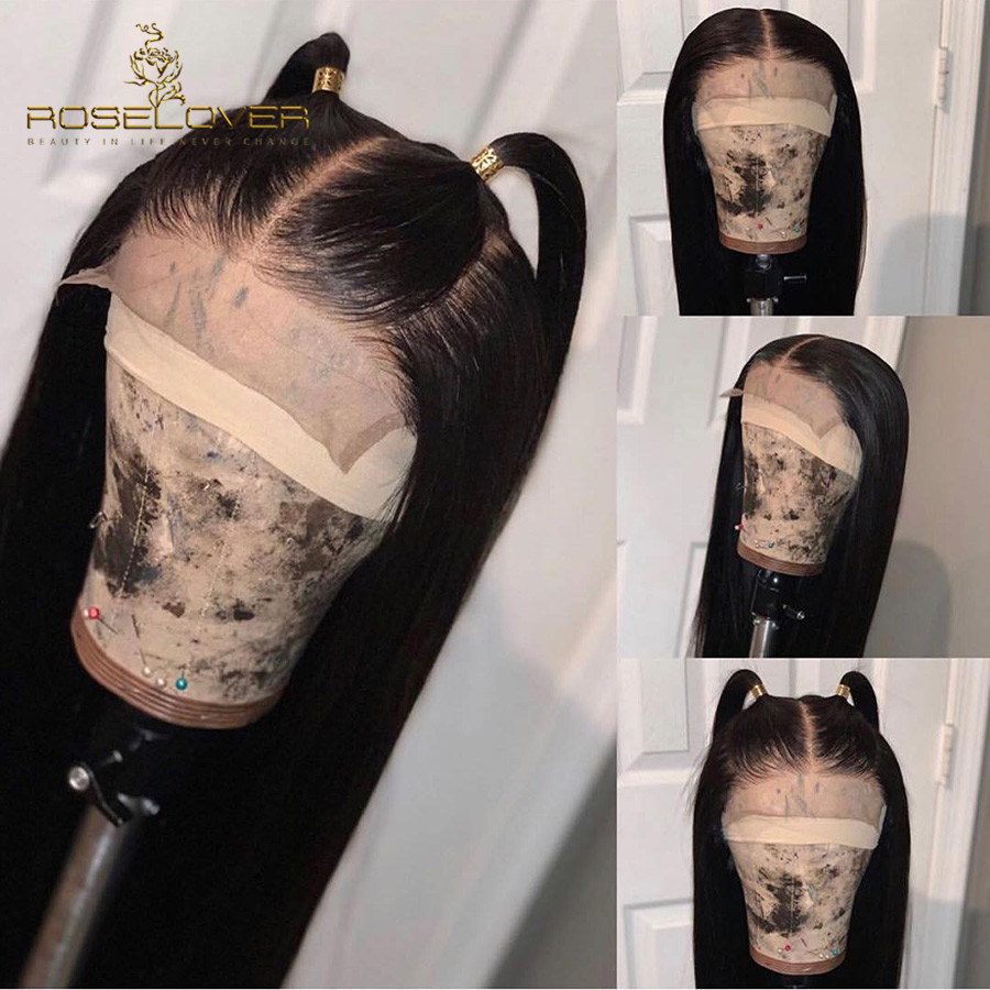 360 Lace Frontal Wig Pre Plucked with Baby Hair Silky Straight Peruvian Remy Human Hair Ponytail