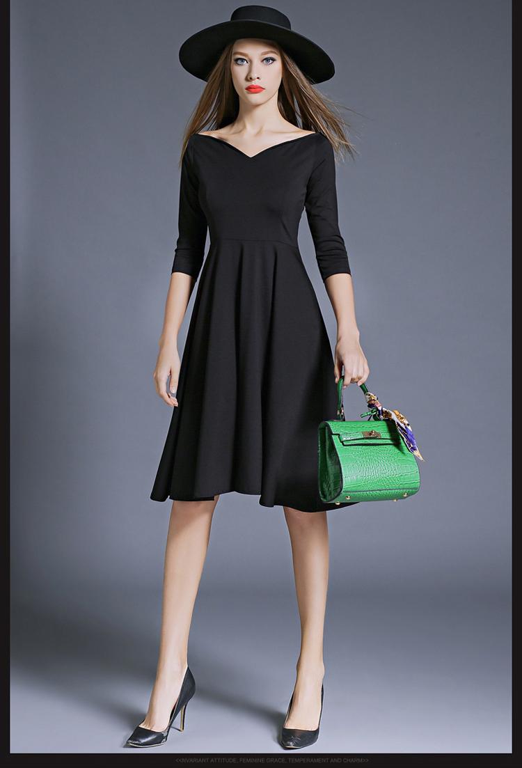 Hepburn Elegant Women Party Dresses Vestidos Mujer 2017 Kleider Damen Autumn Dashiki Little Black Dress Dames Jurken K8849 4