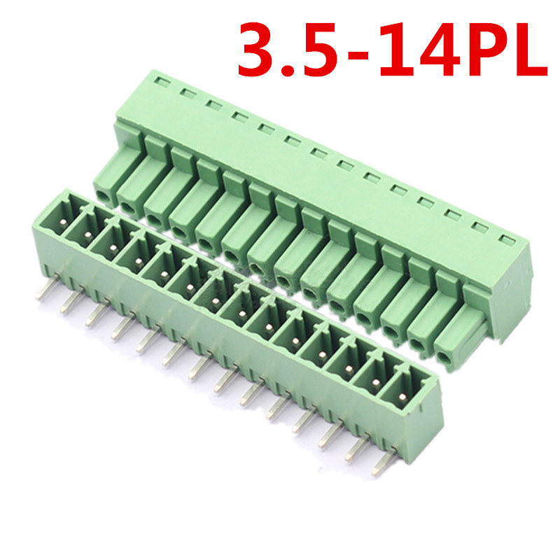 10sets 14 Pin PCB Electrical Right Angle Bend 15EDG-3.5mm Pitch Pluggable Green Terminal Block Connector pin header and socket
