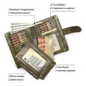 Image 3 - Женский кошелек KAVIS, кошелек из натуральной кожи, кошелек для монет и маленький кошелек, кошелек для денег, зеленый, на молнии, держатель для карт, Perse