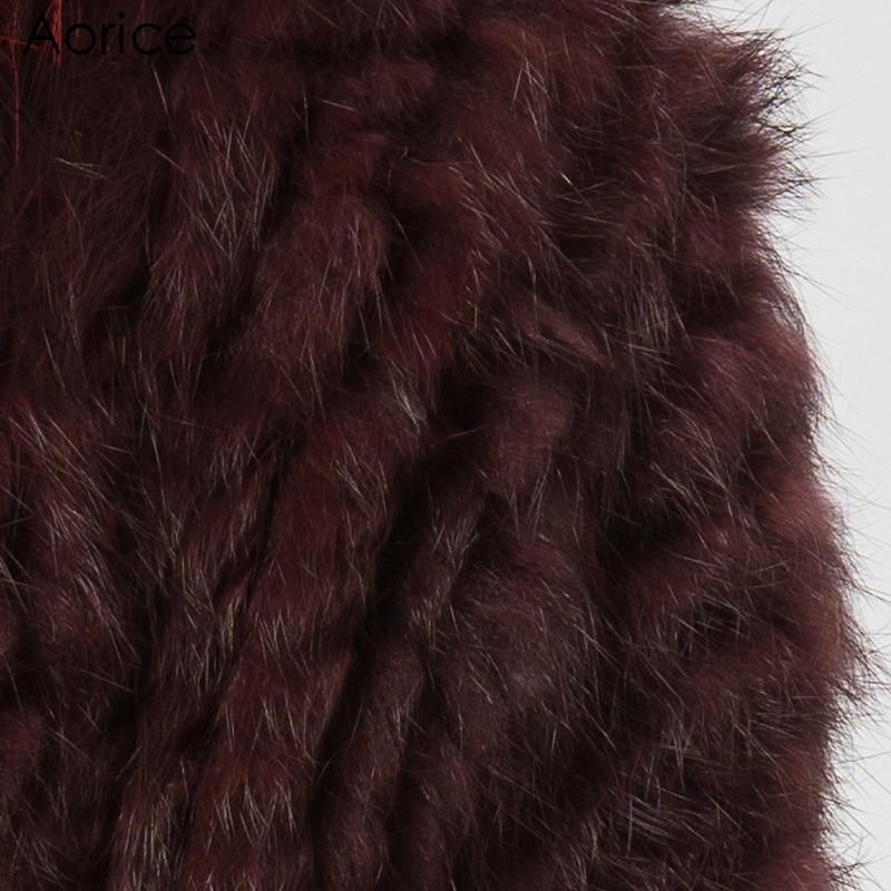 Nouveau Cr056 Raton Tricoté Hiver Véritable Veste De Chaud Manteau Châle Couleur Laveur Lapin Pardessus Tricot Femmes Vrai Et Fourrure Avec EnE8qrx