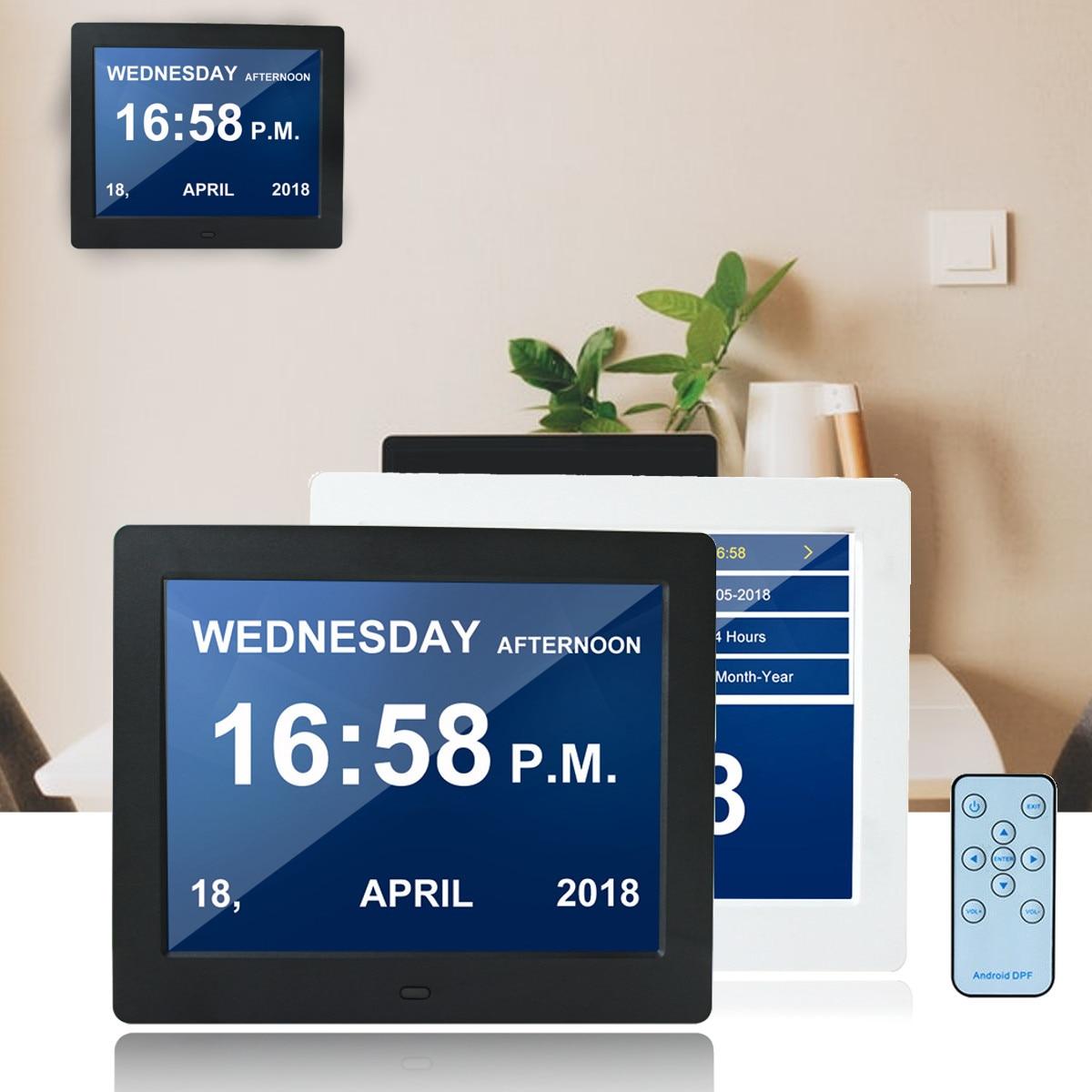 8 LED Dementia Digital Calendar Clock Alarm Large Letter Multimedia Remote travel home office Desk Clocks