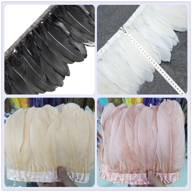 Wholesale 2 yards Goose Feather Trim 13 18cm White Goose Feather Fringe Ribbon For DIY Crafts Carnival Dress Making Accessories in Feather from Home Garden