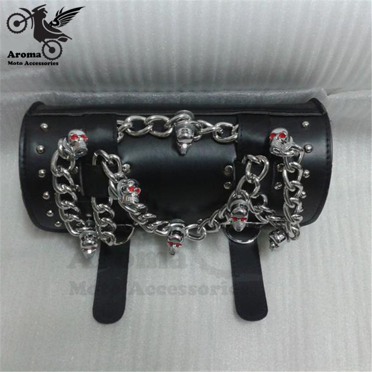 black skull chain decal parts moto saddlebag for honda suzuki yamaha harley universal head bags motorbike tail bag motorcycle