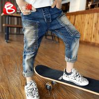 2018 New Autumn Children Character Denim Pants Baby Boy Jeans Children's Clothing Kids Winter Casual Trousers Thickened leggings Boys Jeans