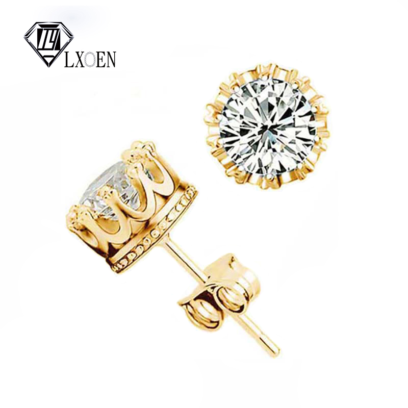 Us 0 97 64 Off Lxoen Clic Crown Stud Earrings For Women Round Aaa Zirconia Men Studs Ear Silver Color Crystal Pulseras Mujer Gifts In