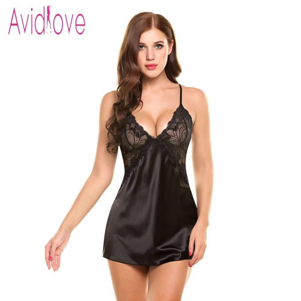 fd54f6f52b2 Detail Feedback Questions about Avidlove Sexy Nightgown Lingerie Fashion  Patchwork Nightdress Women Sheer Scalloped Satin Nightwear Silk Slip  Sleepwear ...
