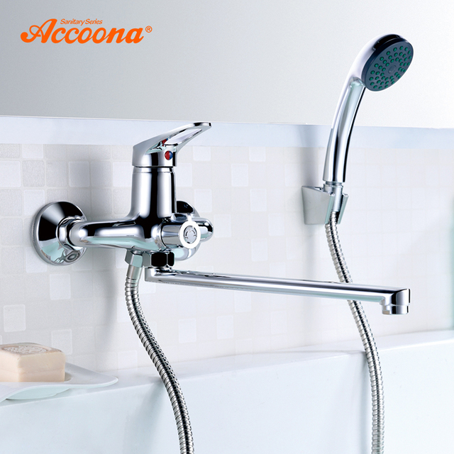 Accoona Bathroom Shower Faucet Mixer Tap With Hand Sprayer Wall