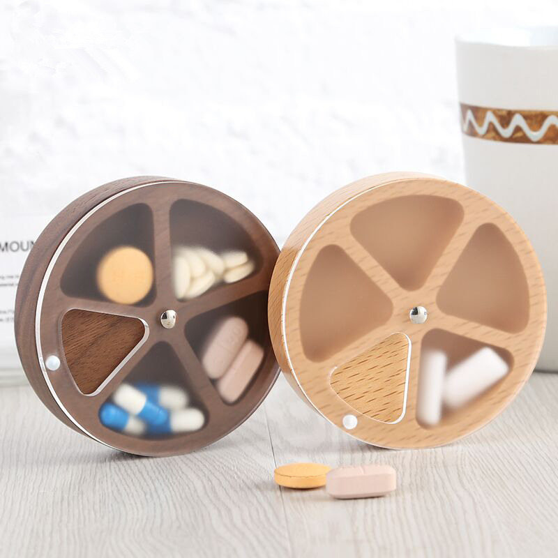 Small Round Wooden Medicine Box Portable Mini Travel Divided Jewelry Storage Box Sealed Moisture proof Household Convenience