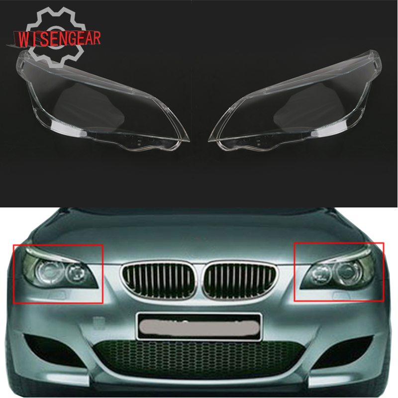 For BMW 5 Series E60 M5 E61 Car Front Headlamp Housing Clear Lens Shell Cover For BMW 525i 530i 528i 535i 540i 550i 545i #N001 gold plated rca male to rca female right angle extension adapter black golden 3 pcs