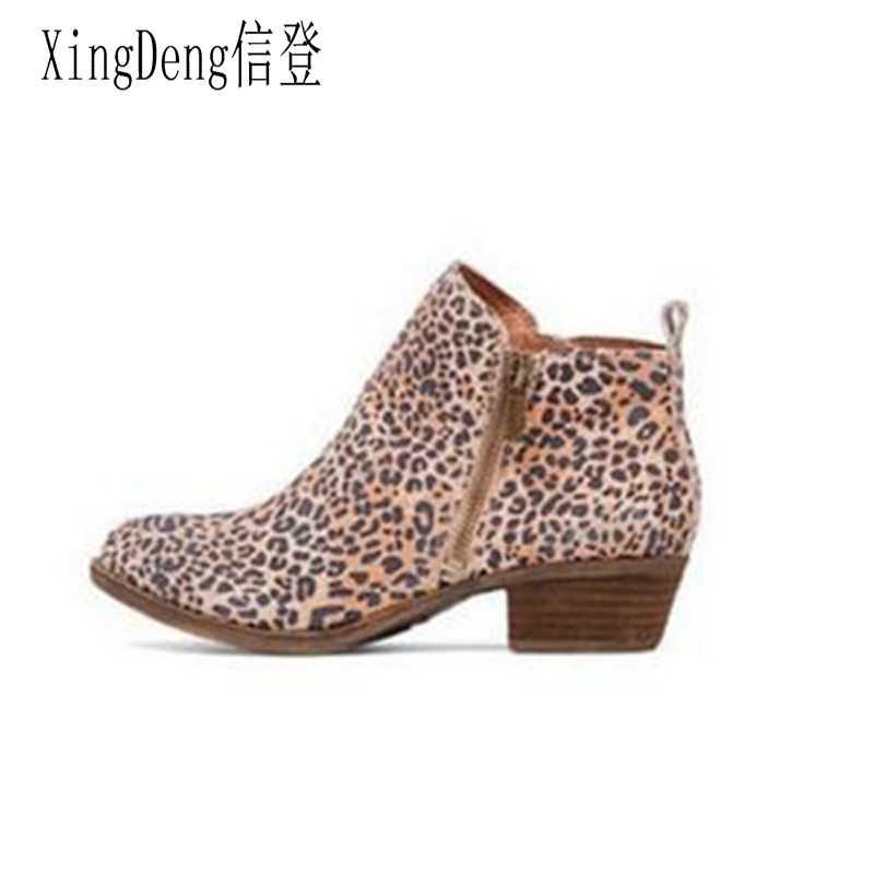 XingDeng bayanlar parti avrupa Zip ayak bileği yüksek topuklu batı botları ayakkabı sonbahar kadın leopar desen ince topuk Martin çizmeler