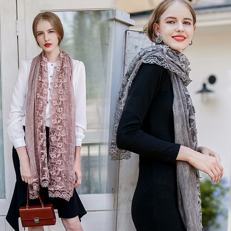 Spring Lace Cotton Women Scarf For Autumn Lady Style Solid Long Shawl Wraps For Travel On Beach Vatinage Style Hot Sale