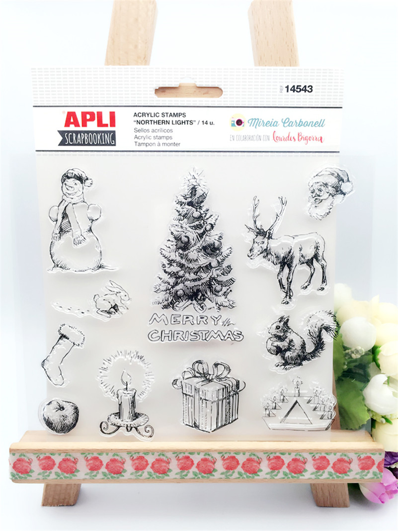 Merry christams design for Transparent Clear Stamp Seal For DIY Scrapbooking Decorative Clear Stamp wedding gift LL-090 lovely animals and ballon design transparent clear silicone stamp for diy scrapbooking photo album clear stamp cl 278