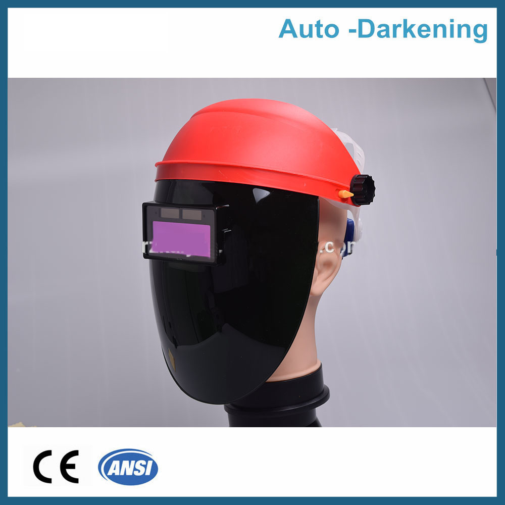 2016 hot sale  Hard hat auto darkening welding helmet goggles/Custom TIG MIG welding face shield mask for welders  100x50mm welding goggles welding tools with automatically dimming glasses welding caps hot red welding mask helmet dhcp 27