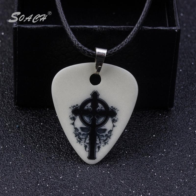 Soach 1.0mm gitar pilihan kalung liontin strip rantai kalung perhiasan aksesoris gitar berbagai gaya