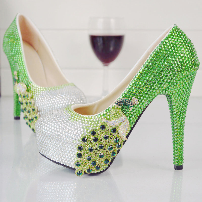 ФОТО Luxurious Cinderella Prom Shoes Green with Silver Rhinestone Wedding High Heel Shoes Fashion Bridal Dress Shoes Party Pumps