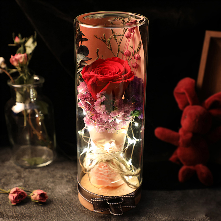 Beauty and the beast full kit red silk rose and led light with beauty and the beast full kit red silk rose and led light with fallen petals in a glass dome on a wooden base in artificial dried flowers from home izmirmasajfo Choice Image