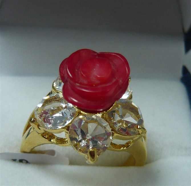 ร้อนขาย>@@ขายส่งแฮนด์เมดสีแดงดอกไม้หยกการออกแบบที่สวยงามแหวนแฟชั่น(#7.8.9) #-เจ้าสาวเครื่องประดับจัดส่งฟรี