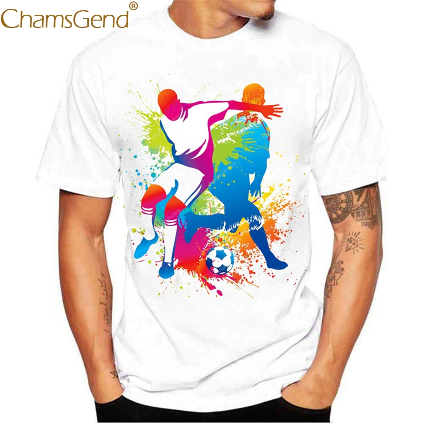 Chamsgend Men's Tops Casual World Game Games Printing Short Sleeve White Tees Shirt 80315