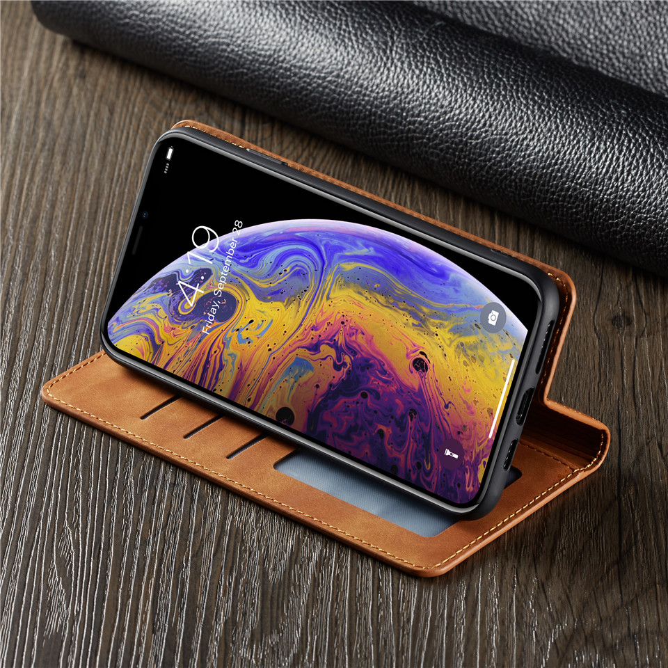 Luxury Leather Flip Wallet phone Case for iPhone