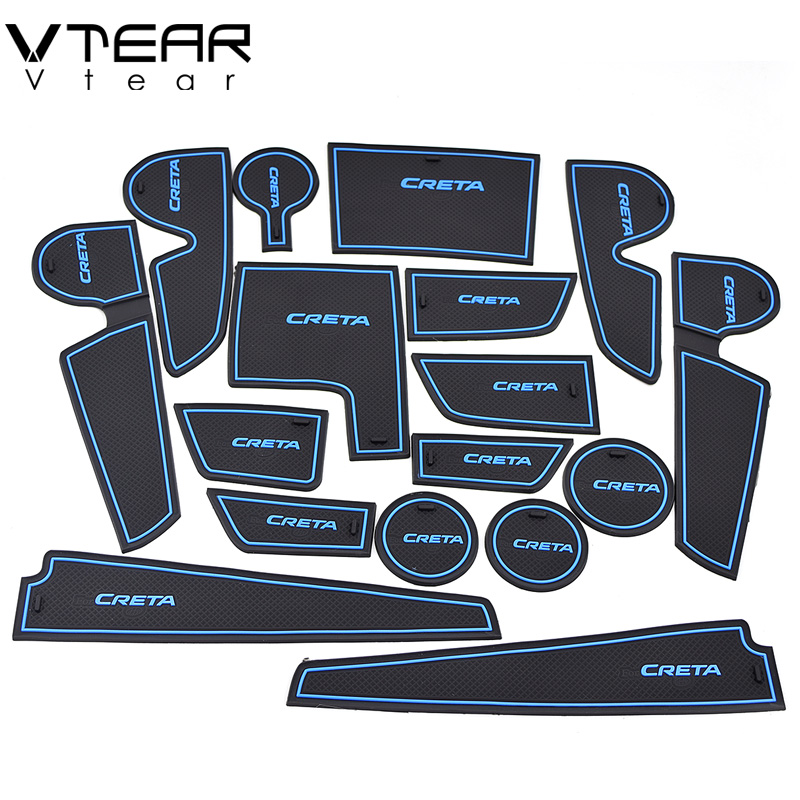 Vtear For hyundai creta ix25 rubber mat door mat anti-slip Cup pad Interior decoration accessory styling 2015-2018 Gate slot pad