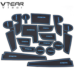 Vtear For hyundai creta ix25 2017-2019 rubber mat door mat anti-slip Cup pad Interior decoration accessory styling Gate slot pad