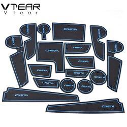 Vtear For hyundai creta ix25 2017-2019 rubber mat door mat anti-slip Cup pad Interior decoration accessory styling Gate slot pad