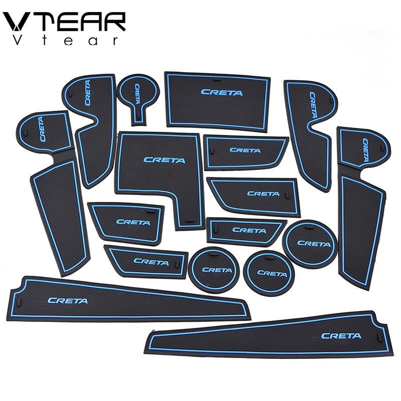 Vtear Per hyundai creta ix25 gomma mat mat porta antiscivolo Cup pad decorazione di Interni accessorio styling 2015-2018 Porta slot pad